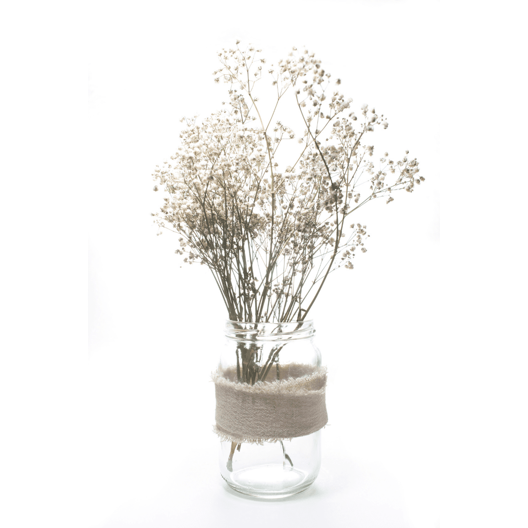 bottle with baby's breath inside